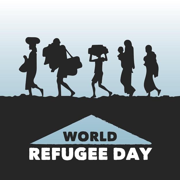 Sagome di giornata mondiale del rifugiato Vettore gratuito