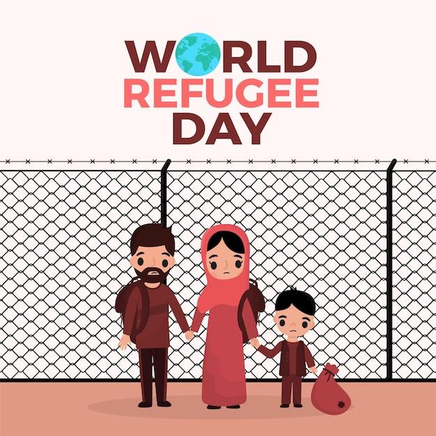 Tema della giornata mondiale del rifugiato Vettore gratuito
