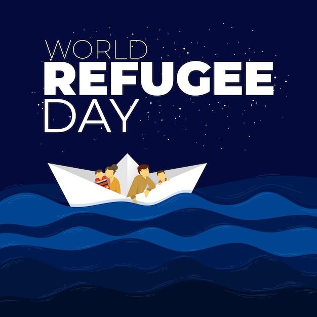 世界難民の日のテーマ 無料ベクター