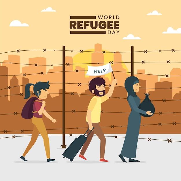 Giornata mondiale del rifugiato con persone Vettore gratuito