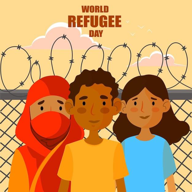 人との世界難民の日 無料ベクター