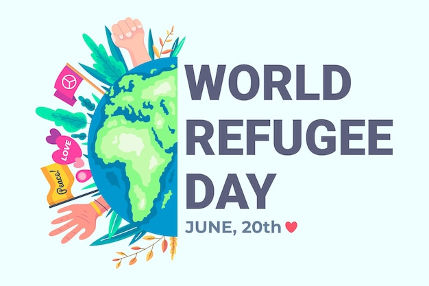 World refugee day with planet Free Vector