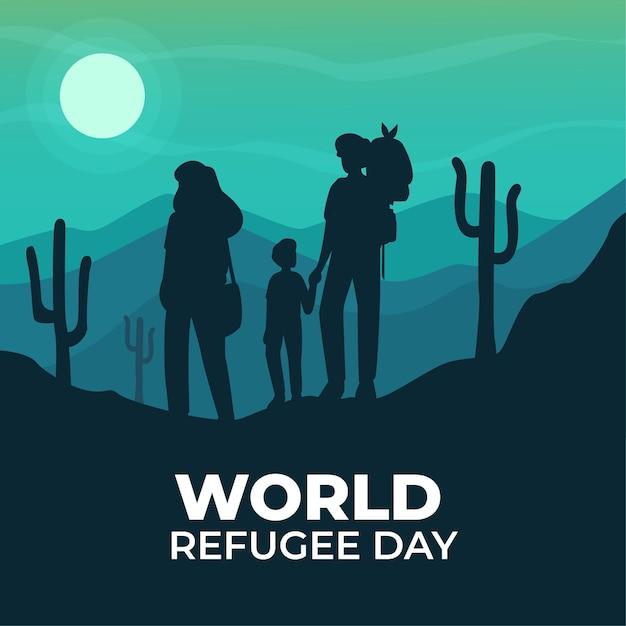 Giornata mondiale del rifugiato con sagome Vettore gratuito