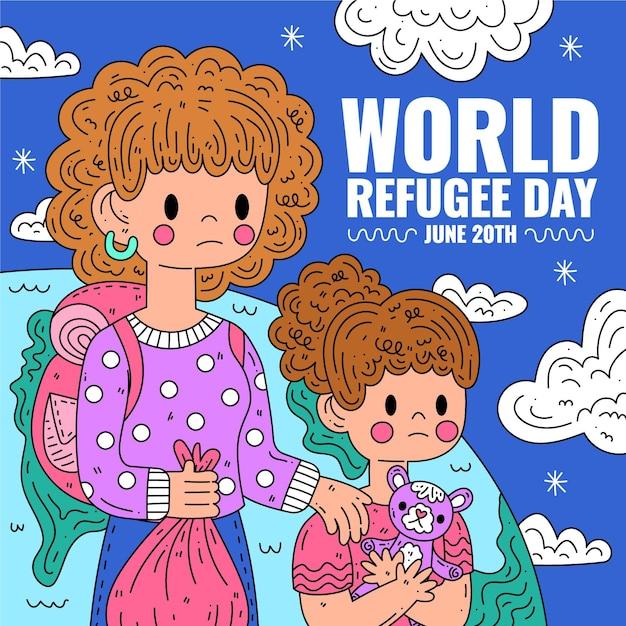 Giornata mondiale del rifugiato con donna e ragazza Vettore gratuito