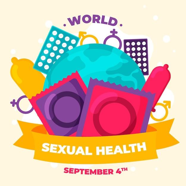 コンドームと世界の性的健康の日の背景 無料ベクター
