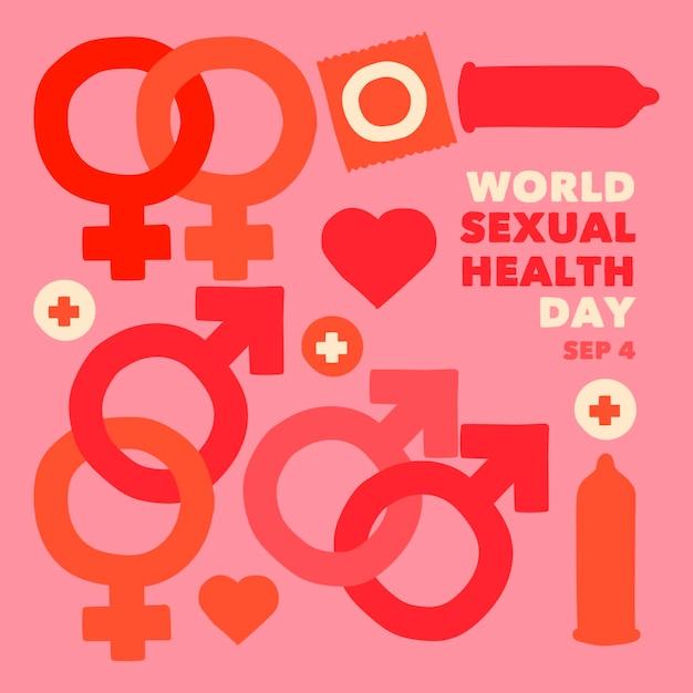 性別兆候と世界の性的健康の日の背景 無料ベクター