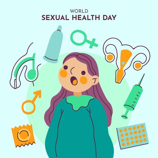 女性と要素の世界の性的健康の日の背景 無料ベクター
