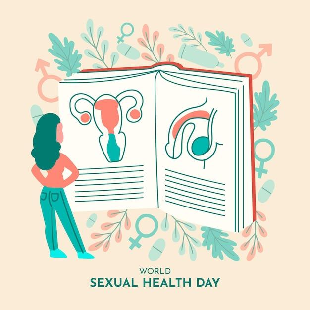 Giornata mondiale della salute sessuale sfondo con donna e libro Vettore gratuito