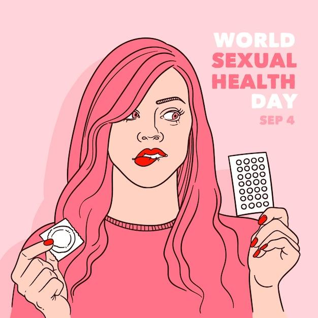Giornata mondiale della salute sessuale sfondo con donna e contraccezione Vettore gratuito