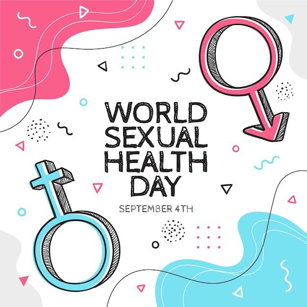 Giornata mondiale della salute sessuale in stile memphis Vettore gratuito
