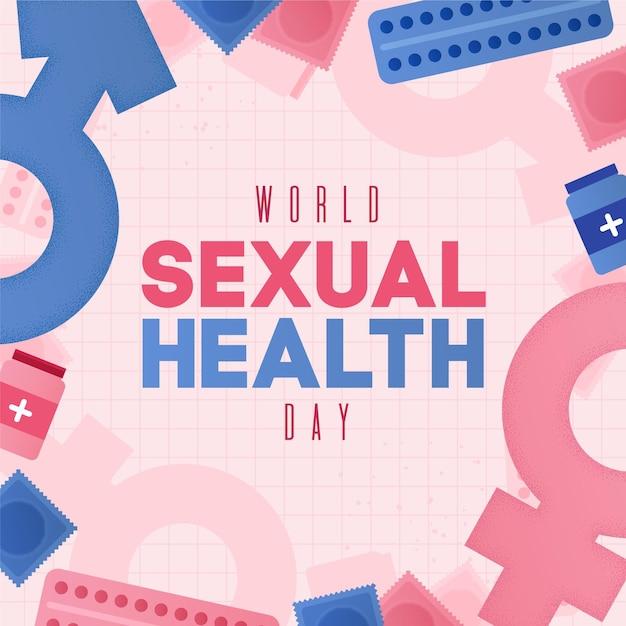 ジェンダーサインの背景を持つ世界の性の健康の日 無料ベクター