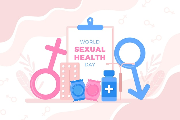Giornata mondiale della salute sessuale con segni di genere Vettore gratuito