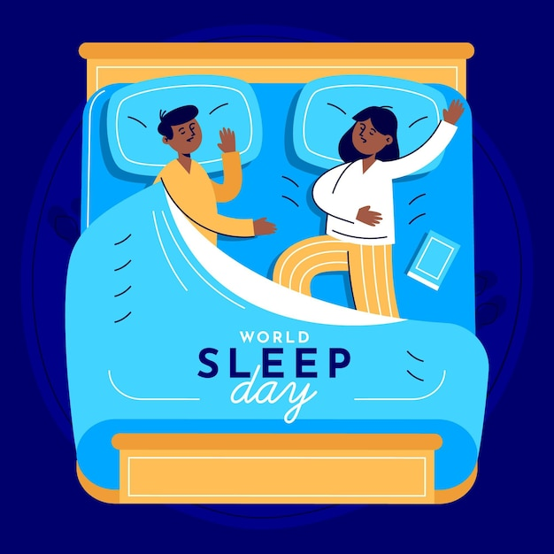 World sleep day illustration with couple in bed Free Vector