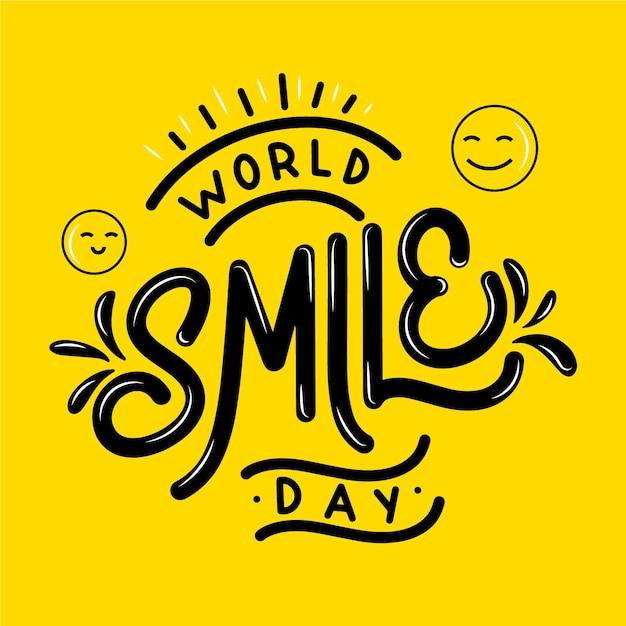 Lettering giornata mondiale del sorriso Vettore gratuito