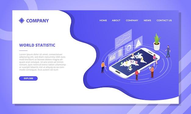 Concetto di statistiche del mondo. modello di sito web o design della homepage di atterraggio con stile isometrico Vettore gratuito