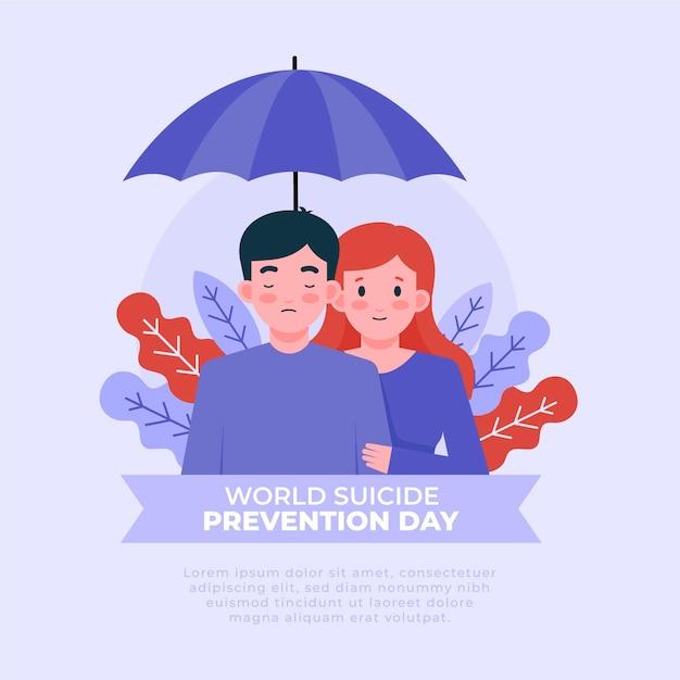 Концепция всемирного дня предотвращения самоубийств Premium векторы