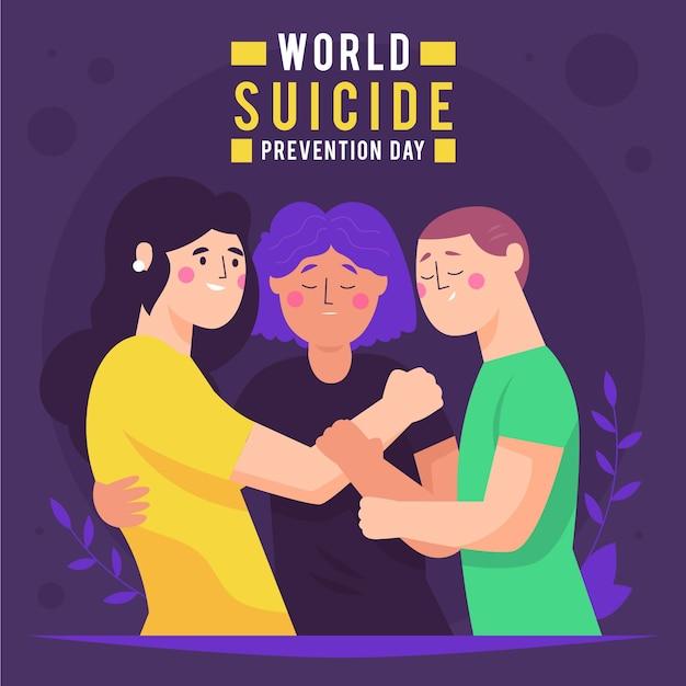 Иллюстрация всемирного дня предотвращения самоубийств Бесплатные векторы