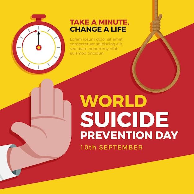 Иллюстрация всемирного дня предотвращения самоубийств Premium векторы