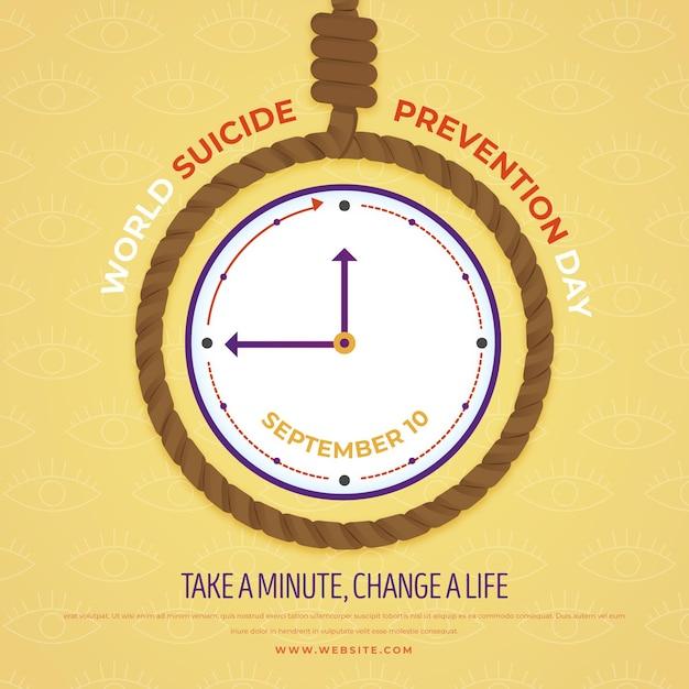 Всемирный день предотвращения самоубийств займет минуту Бесплатные векторы