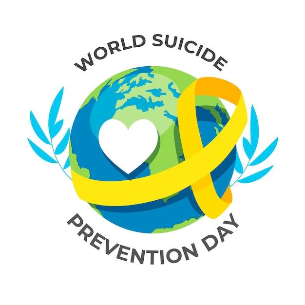 Всемирный день предотвращения самоубийств с сердцем и земным шаром Premium векторы