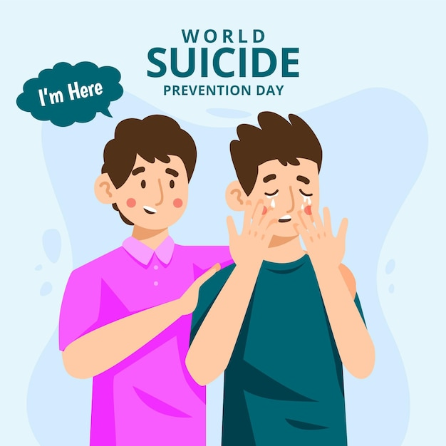 Всемирный день предотвращения самоубийств среди мужчин Premium векторы