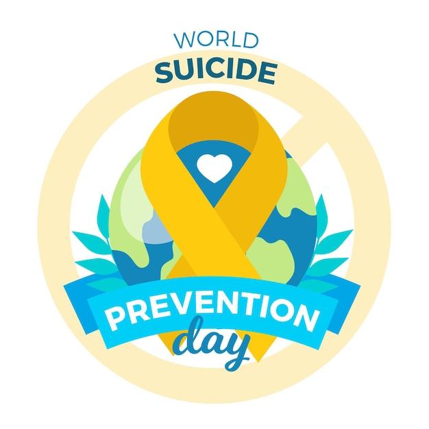 Всемирный день предотвращения самоубийств с лентой Premium векторы