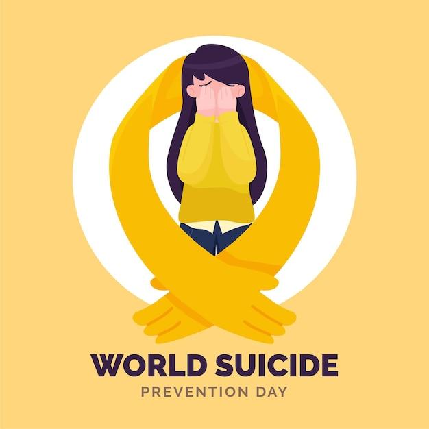 Всемирный день предотвращения самоубийств с женщиной Premium векторы