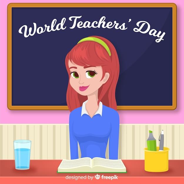 World teacher's day background with female teacher and blackboard Free Vector