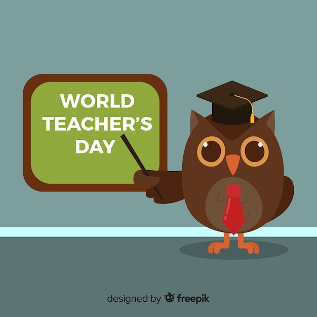 World teacher's day background with owl and blackboard Free Vector