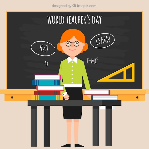 World teacher\'s day, flat-style teacher