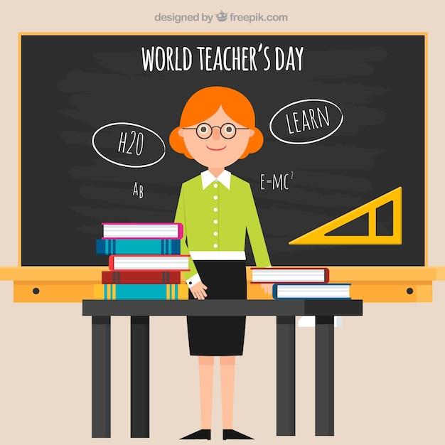 World teacher\'s day, flat-style teacher