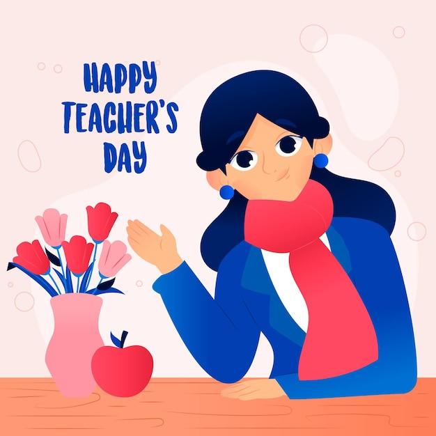 世界教師の日のイラスト Premiumベクター