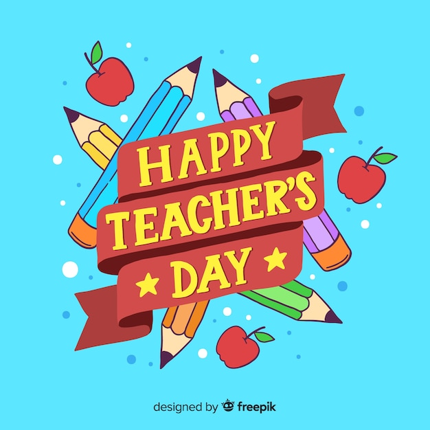 World teacher's day lettering background Free Vector