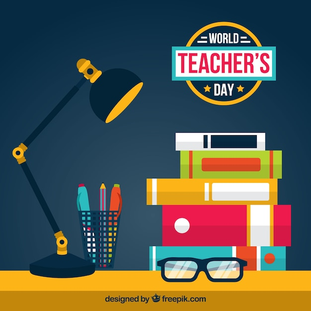 World teacher's day, scene with school elements Free Vector