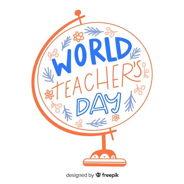 World teachers' day calligraphy Free Vector