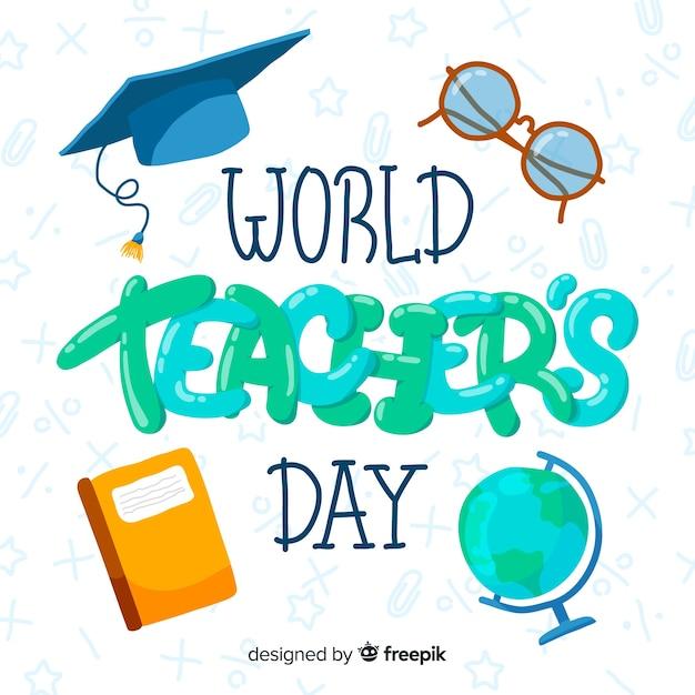 World teachers' day cartoon Free Vector