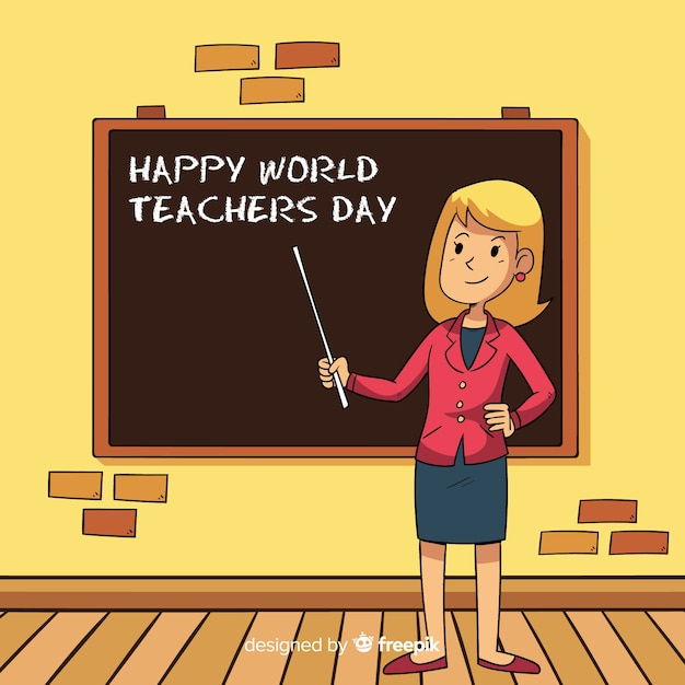 World teachers' day composition female teacher Free Vector