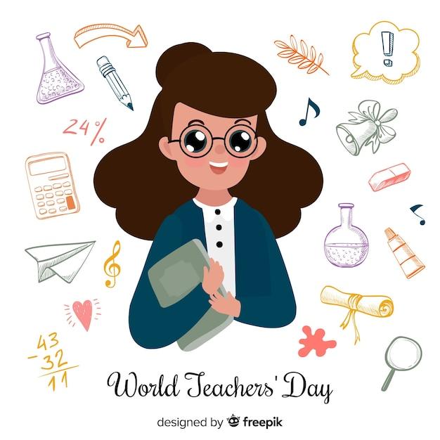World teachers' day composition female teacher Free Vector