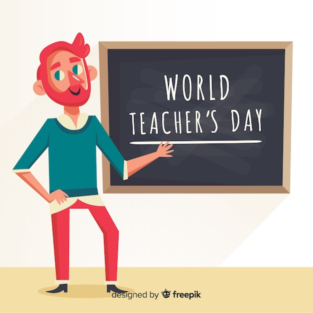 World teachers\' day composition professor with\ chalkboard