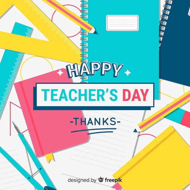 World teachers' day composition with modern typography Free Vector