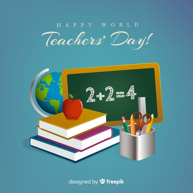 World teachers\' day composition with realistic\ design