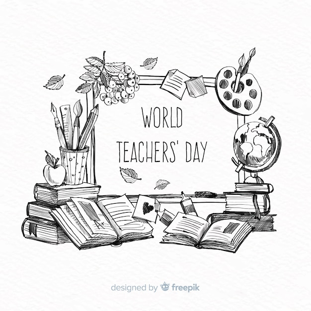 World teachers' day composition Free Vector