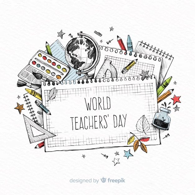 World teachers' day composition Free Vector