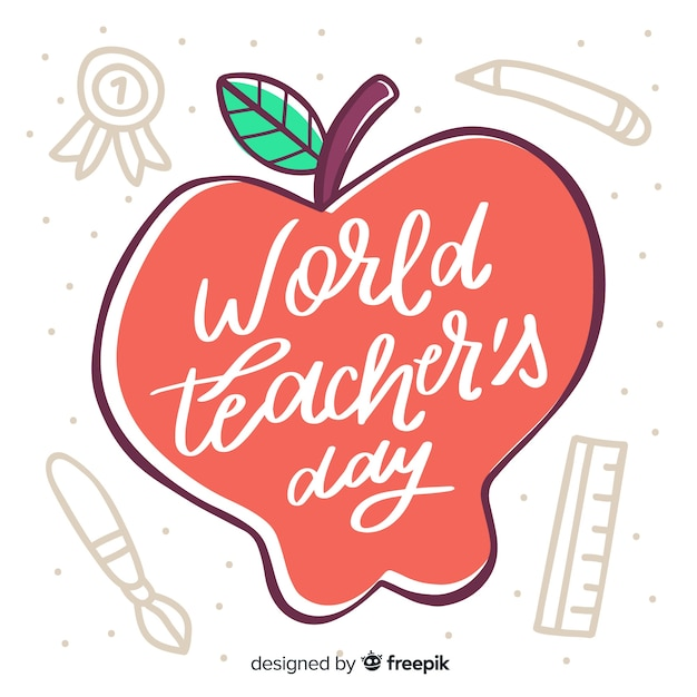 World teachers' day lettering with drawn apple Free Vector