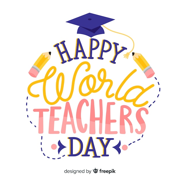 World teachers day lettering with graduation hat Free Vector