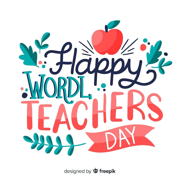World teachers day lettering with red apple Free Vector