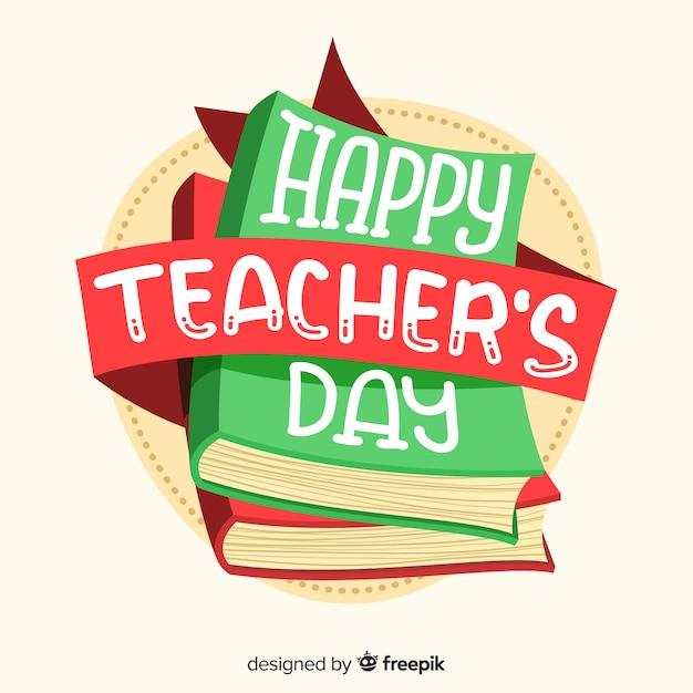 World teachers day lettering Free Vector