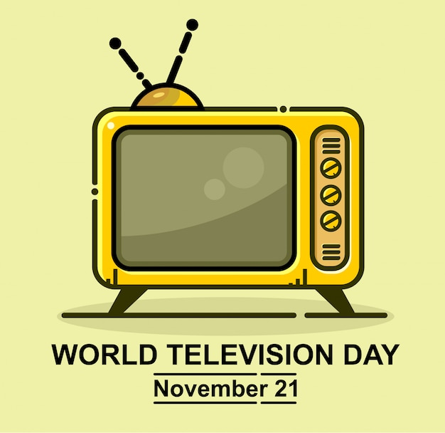 World television day icon vector Premium Vector