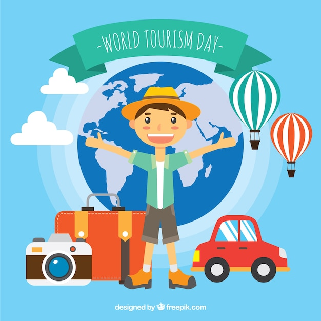 World tourism day, a boy traveling the world