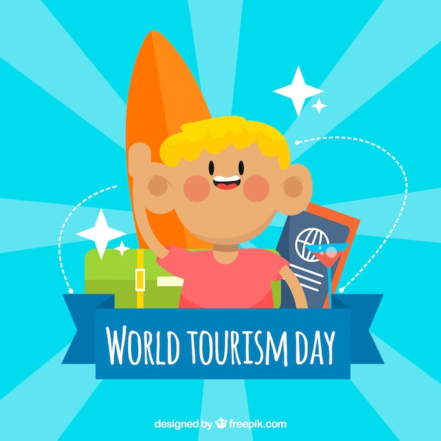 World tourism day, a boy traveling with his surfboard